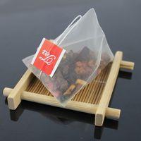 1000pcs / lot Pirámide del té bolsas de filtro de nylon bolsitas de té de Cuerda Con etiqueta transparente bolsa de té vacía