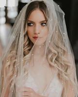 Zarif 3 Metre Uzun Düğün Peçe Tarak ile 2020 Inciler Yumuşak Tül Tek Katlı Katedrali Boho Gelin Veils Düğün Aksesuarları