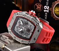 Vente en gros Hommes Mode Sport Montre Shinning Montres en acier inoxydable diamant Iced Montre chronographe All Dial travail bracelet en caoutchouc R-mâle Horloge