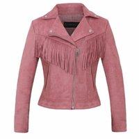 Ropa Faux de cuero para mujer Casual Pink Brown Fashion Damas Tassel Coat Abrigo Mujer Chaqueta de gamuza de alta calidad Motorista