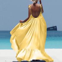 Vestido Mujeres Spaghetti Strap Backless Long Dress 2020 Sexy Summer Party Bohemian Playa Vestidos Vestidos Robe Femme Vestidos Vestido de Mujeres