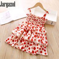 Jargazol Little Girls Одежда Vestidos летние моды Dots Скольжение платье Симпатичные корейский костюм принцессы скомпонованное Довольно Детская одежда
