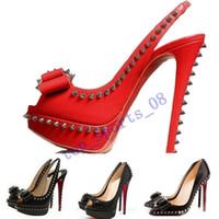 패션 리벳 물고기 입 빨간색 스파이크가 뾰족한 하단 바닥 하이힐 여성 드레스 신발 크기 35-45