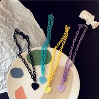 Hiphop Harajuku Herz-Anhänger Acryl Halskette Macarons Chokers Geschenke für Frauen collier femme kleinazeigen Persönlichkeit Partei Schmuck