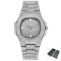 Hip Hop reloj de cuarzo para hombres Bling Diamond para mujer relojes de pulsera femenino tono de plata banda de acero Relogio masculino regalo de las señoras 2019