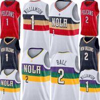 Zion 1 Williamson Jersey Lonzo 2 Top Basketbol Formaları Beyaz Mavi Kırmızı Formalar S-XXL 2021