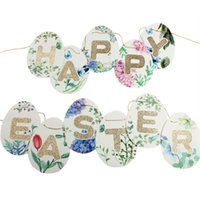 Glitter Fun Egg Shape Happy Easter Banner Floral Banner Happ...