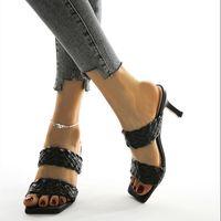 Frauen Normallack-Kleid-Schuhe plus size Sommerschuhe kompilieren hohe Absätze Pantoffel Stilett Spitze Breiten Schnürsenkel Art und Weise der heiße Verkauf 0198