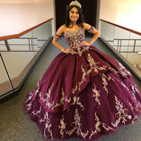 Lovely Burgundy Tier Quinceanera Dresses Sweetheart Lace Appliques Beaded Satin Ball Gown Prom Dress Corset Back Sweet 16 Dress