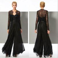 Combinaison de la dentelle noire élégante Mère de la mariée Cuisson Coulée chérie avec vestes avec des mères de mariée de mariage