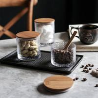 Recipiente De Armazenamento de Alimentos De Vidro transparente De Café Feijão Chá Jar com tampa de Vedação Hermética de Bambu, vasilha de Armazenamento De Alimentos De Vidro Borossilicato