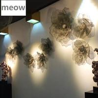 Placa decorativa de flor de malha de metal parede de ferro de ferro pendurado na sala de estar tridimensional