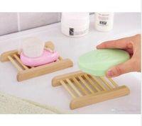 목욕 샤워 화장실의 갯수를위한 100PCS 천연 대나무 쟁반 도매 나무 비누 접시 나무 비누 트레이 홀더 랙 플레이트 상자 컨테이너