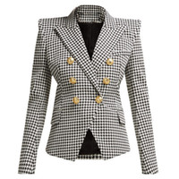 Femmes Blazers Haute Qualité À double boutonnage Plaid Suit Manteau Slim Blazer Veste Bureau Lady Business Outwear Manteau P794