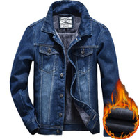Winter Fleece gefüttert Jean Denim Trucker Jacke warme verdicken Jeans Mantel für männliche thermische Mantel Outwear Blazer