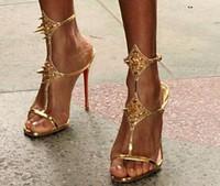 Vendita calda del 2018 la novità sexy open toe cinturino alla caviglia donna sandalo oro nero tacchi sottili sandalo tacco alto estate vestito rivetto sandalo