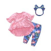 Conjuntos de Roupas de Bebê Menina 2018 Verão Bonito Infantil Bebê Recém-nascido Roupas de Menina Tops + Leggings + Headband 3 PCS Bebes Outfits Set