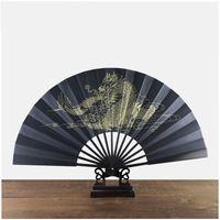 Grande Gold Dragon Vintage mano di seta Fan Black Man cinese Ventaglio pieghevole dell'artigianato tradizionale di bambù Fan Etnica ZC1434
