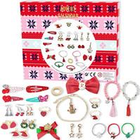Advent Calendar, Moda Saç Bağları Küpe Bilezikler Yüzük ve Santa Uzun Boyunlu Kız Çocuklar için Christams için DIY Charm Mücevher sayım