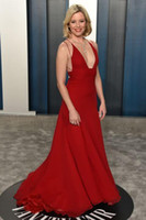 Elizabeth Banks A- Line Prom Dresses Oscars Red Spaghetti Eve...