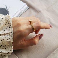 새로운 18K 골드 컬러 2 디자인 U 100 % 선택 925 스털링 실버 오팔 및 방향 반지 여성을위한 오픈 쥬얼리 파인 쥬얼리