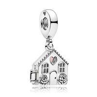 NEW 100%925 Sterling Silver 1:1 Genuine Charm Warm Happiness Cabin Pendant Fit DIY Bracelet Original Women Jewelry Gift
