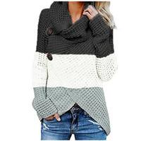Полосатый Печать Женский Color Matching свитера женщин способа конструктора свитера длинным рукавом черепаха шеи женской одежды