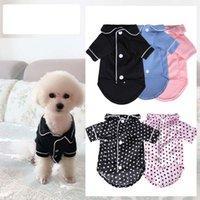 Pequeño perro moda pareja francesa pijamas rosa niñas caniche bichon teddy ropa negro azul niño softfeeling camisas