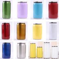حار بيع 500ML 350ML وكولا يمكن زجاجة فراغ كوب ماء الفولاذ المقاوم للصدأ في الهواء الطلق معزول القدح كأس سترو اغطية 7 ألوان HH7-455