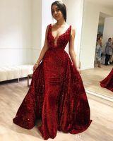 Escuro vermelho lantejoulas sereia sexy v pescoço elegante vestidos de noite formal indiano zuhair murad celebridade vestidos sul África do sul