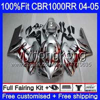 Корпус впрыска + бак для HONDA CBR 1000RR CBR1000 RR 04-05 275HM.8 CBR1000RR 04 05 Red flames stock CBR 1000 RR 2004 2005 OEM обтекатели комплект
