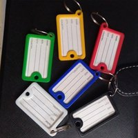 100PCS / LOT جديد وصول مستطيلة مفتاح بطاقة كريستال البلاستيك مفتاح رقم تسمية الكلمات بطاقة سبليت حلقة حلقة مفاتيح اكسسوارات سلسلة المفاتيح