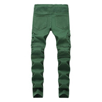 New Biker Jeans Men' s Fashion Slim Denim Trouser High Q...