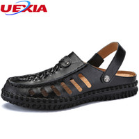 UEXIA Mens Sandals Summer Leather Slippers Flats Beach Shoes...