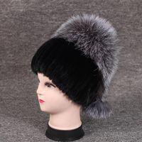 Женщины Зимняя норковые шапки натурального меха на вершине Элегантные Женщины Повседневная Cap Женщины Толстый Теплый природный Hat mz049