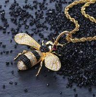 Personalità oro ghiacciato fuori Cubic regalo monili di Hip Hop degli uomini Zirconia animale ape collana pendente per le donne