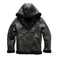 AVIREXFLY масляный воск овечьей мягкой кожи парки с капюшоном случайные короткие тонкие кожаные мужские Двуликий шерстяной мех в одно пальто