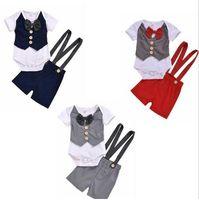 Детская одежда Детские мальчики лук формальная одежда Устанавливает детский джентльмен вечеринка костюм летние хлопковые Rompers Supender шорты брюки костюмы D824