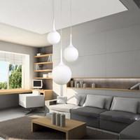 Лофт простой молочно-белый стеклянный шариковый подвесной светильник LED E27 современная подвесная лампа с 6 размерами для гостиной спальни лобби гостиничный магазин