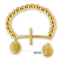 Bangle Stainless Steel Beaded Bracelets For Women Men Religion Virgin Mary Rosary Cross Stretch Strand Couple Jewelry
