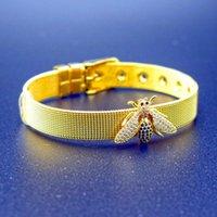 Link, Chain Gold Stainless Steel Mesh Queen Bee Charm Watch Belt Bracelets For Women Men Original Golden Insect Beads Bangle