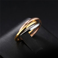 Moda classico creativo Trinità Anello Three Ring Winding acciaio inox 3 colori Trinità dei Rolling nozze anelli a fascia di anello delle donne