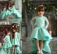 2019 Chic High Low Niedliche Prinzessin Lange Ärmel Mädchen Pageant Kleid Vintage Arabische Spitze Party Blume Mädchen Hübsches Kleid für Kleinkind