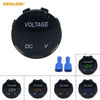 Feeldo Socket de Voltmètre de Voltmètre d'affichage numérique à 5 couleurs de 5 couleurs de 5 couleurs pour la moto Auto Panneau rond Tester Testeur de manomètre N ° 6072