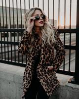 Brasão Faux Fur Fashion Desigenr espessamento Quente lapela Outwear Casual casacos longos Mulheres Agasalho Mulheres Leopard