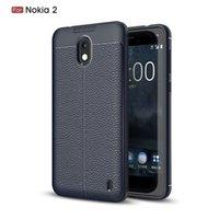 Retour en silicone mince Téléphone Couverture Litchi Texture douce TPU peau mince de protection pare-chocs de cas pour Nokia 2