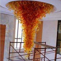 Индия Оранжевый Красный Большой Размер Ручной Вручную Стекло Любльская Лампа Искусство Декор Довольно Мурано Большой Отель Потолочные светильники