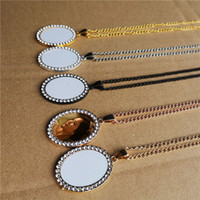 sublimazione vuote piccole donne ovali ciondoli collane di moda collana ciondolo tranfer stampa calda di consumo all'ingrosso prezzo di fabbrica
