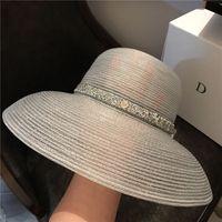 Moda Anti-UV Stripe Holiday Beach Sombreros de alta calidad para mujer Amplia sombreros Sun Hat Tide Black Pescador sombreros ins