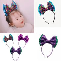 Big Sequin Bow Glitter Metallic Hair Band Mermaid Headband F...